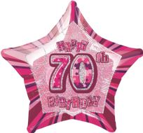 "Glitz 20"" Star Balloon Pink - Age 70"